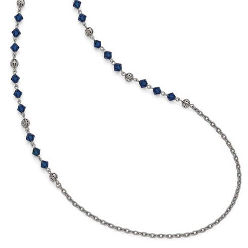 Silver-tone Downton Abbey Blue Glass Bead 36in Necklace