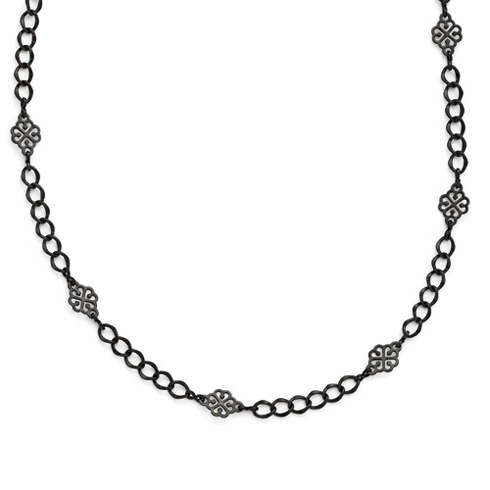 Black-plated Downton Abbey Intertwined Hearts 36in Necklace