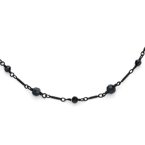 Black-plated Downton Abbey Black Glass 36in Necklace