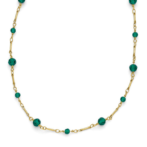 Gold-tone Downton Abbey Green Crystal Beads 36in Necklace