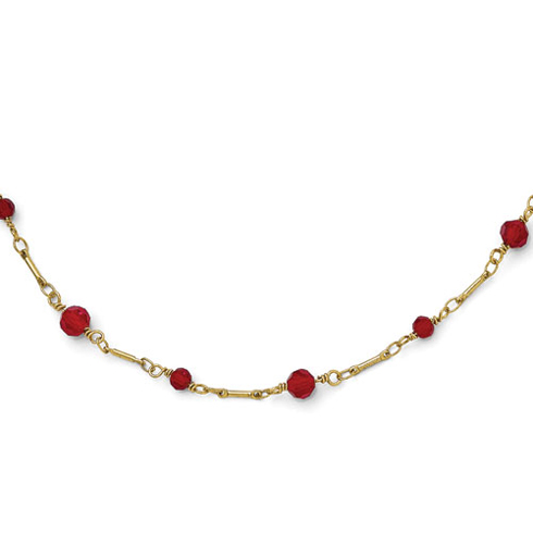 Gold-tone Downton Abbey Red Crystal Beads 36in Necklace
