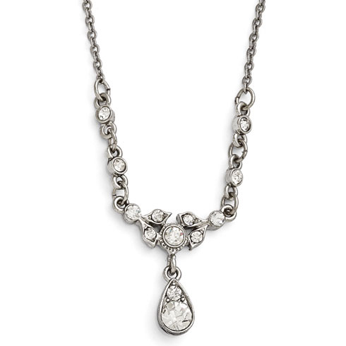Silver-tone Downton Abbey Crystal Drop Necklace