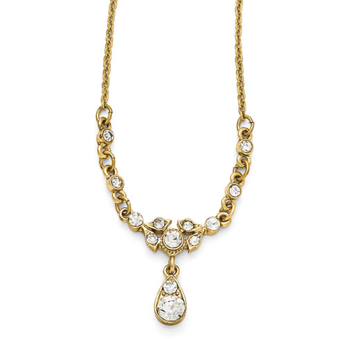 Gold-tone Downton Abbey Sparkling Crystal Drop Necklace