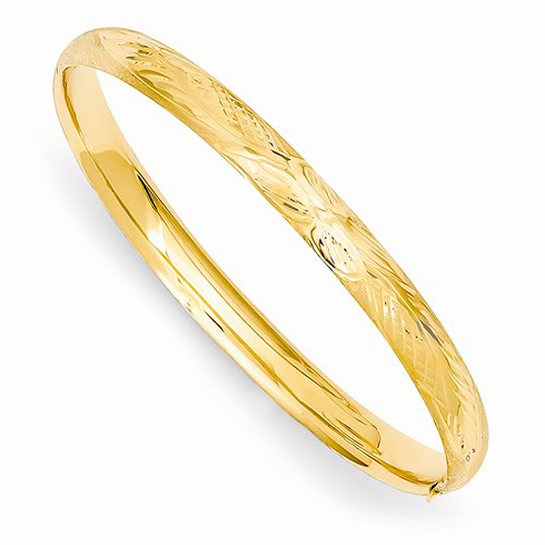 14kt Yellow Gold 6in Florentine Engraved Baby Bangle Bracelet
