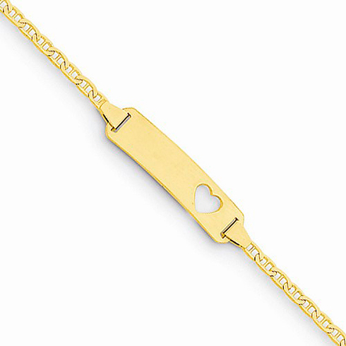 14kt Yellow Gold 6in Anchor Link Baby ID Bracelet with Stamped Out Heart