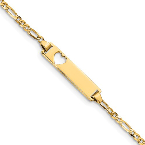 14kt Yellow Gold 6in Figaro Link Baby ID Bracelet with with Cut-out Heart
