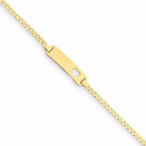 14kt Yellow Gold 6in Curb Link Baby ID Cut-out Heart Bracelet