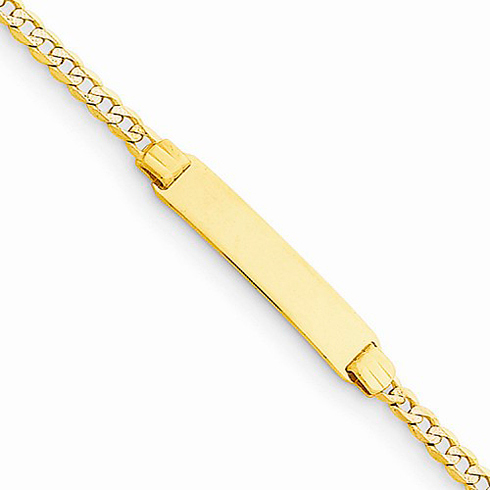 14kt Yellow Gold 6in Pave Curb Link Child ID Bracelet
