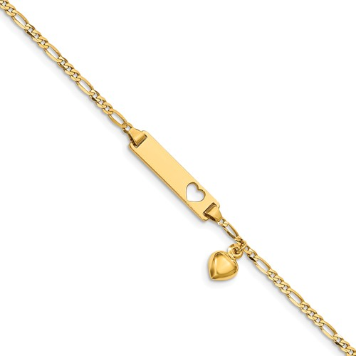 14kt Yellow Gold 6in Figaro Link Child ID Bracelet with Dangling Heart