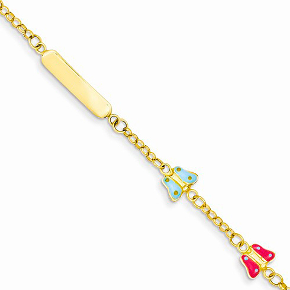 14kt Yellow Gold 6in Enameled Butterflies Baby Child ID Bracelet