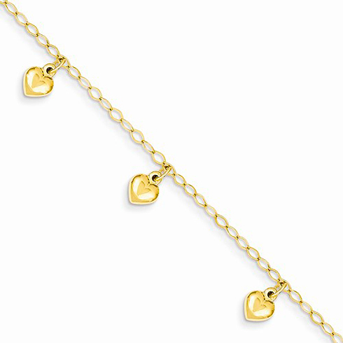 14kt Yellow Gold 6in Child's Puffed Heart Charm Bracelet