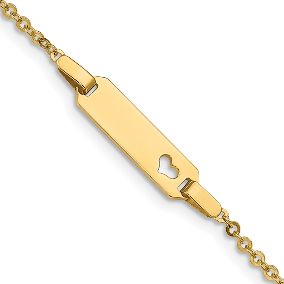 14k Yellow Gold 6in Child's Heart ID Cable Link Bracelet
