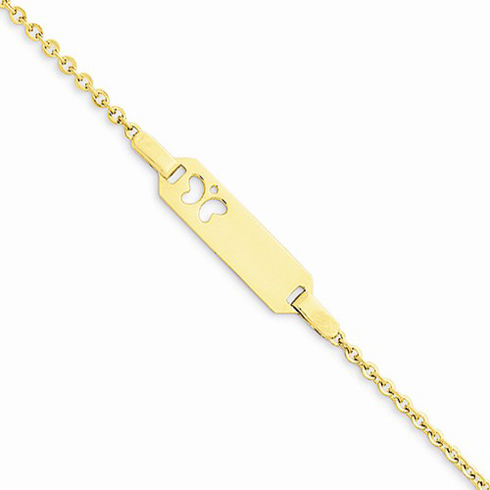 14kt Yellow Gold 6in Child's ID Butterfly Bracelet