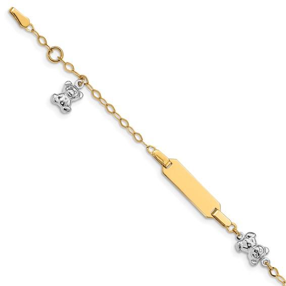 14kt Two-tone Gold 5 1/2in Teddy Bear ID Baby Bracelet