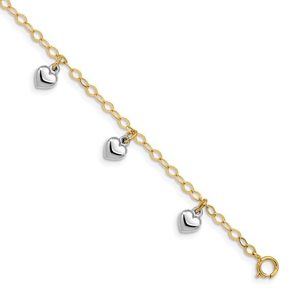 14kt Two-tone Gold 5 1/2in Dangle Heart Baby Bracelet
