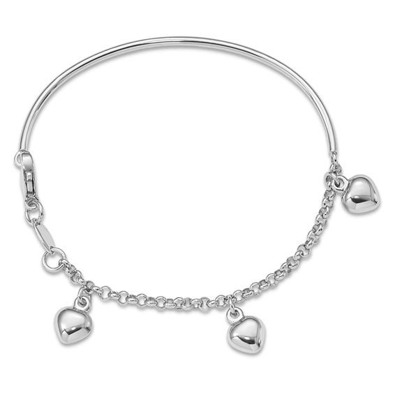 14kt White Gold 6in Dangle Heart Charm Baby Bracelet