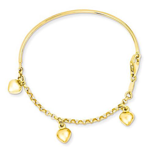 14kt Yellow Gold 6in Dangle Heart Baby Bracelet