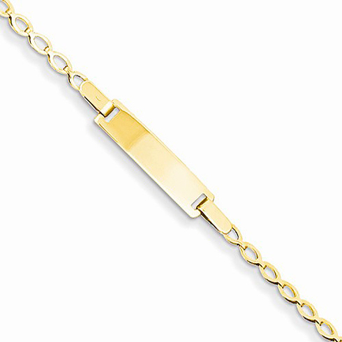 14kt Yellow Gold 6in Polished Baby ID Bracelet