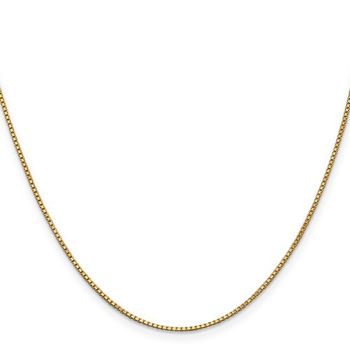 14kt Yellow Gold 24in Box Link Chain 1mm