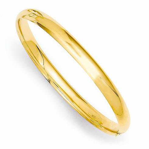 14kt Yellow Gold 6in Polished Hinged Baby Bangle Bracelet