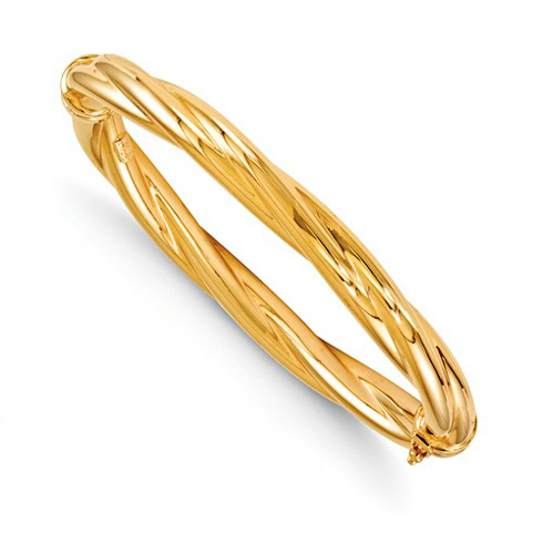 14kt Yellow Gold 8mm Twisted Hinged Bangle Bracelet