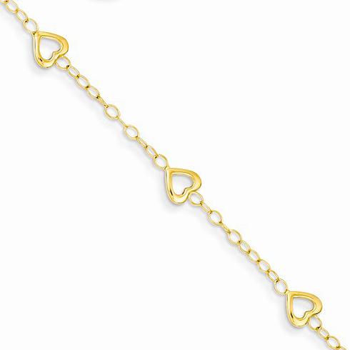 14kt Yellow Gold 5 1/2in Heart Adjustable Child's Bracelet