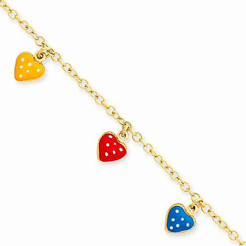 14kt Yellow Gold 5 1/2in Enamel Heart Adjustable Child Bracelet