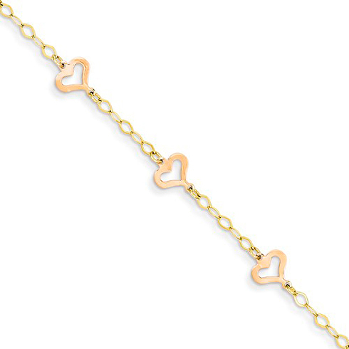 14kt Two-tone Gold 6in Child's Heart Bracelet