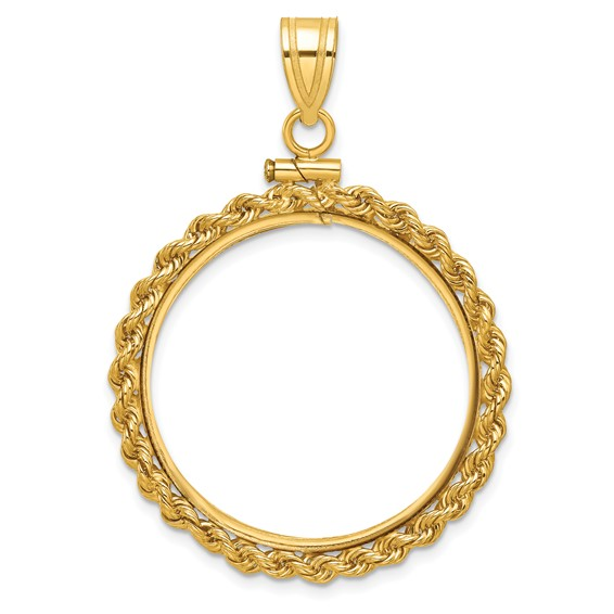 14kt Yellow Gold Screw Top Rope Bezel for Ten Dollar US Coin