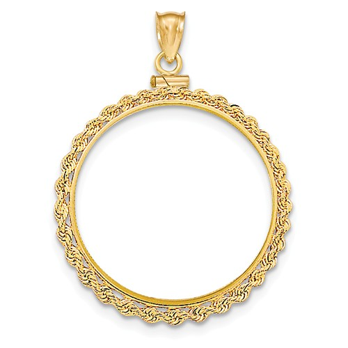 14kt Yellow Gold Polished Screw Top Bezel for Double Eagle US Coin