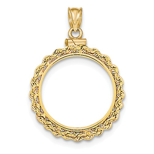 14kt Yellow Gold Polished Screw Top Bezel for Five Dollar US Coin