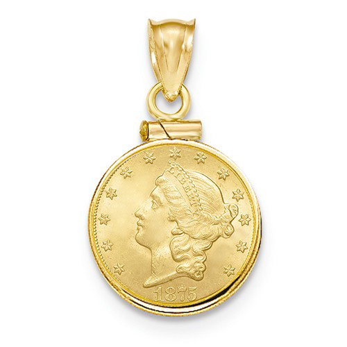 14kt Yellow Gold Screw Top Bezel for One Dollar US Coin