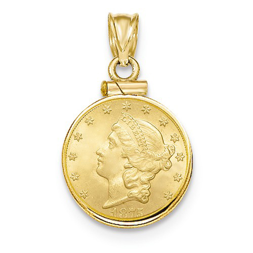 14kt Yellow Gold Polished Screw Top Bezel For Quarter