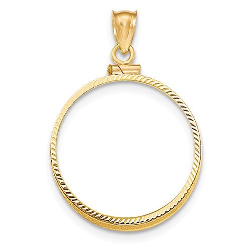 14kt Yellow Gold Diamond-cut Screw Top Bezel for Ten Dollar US Coin