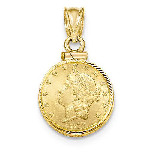 14kt Yellow Gold Diamond-cut Screw Top Bezel for One Dollar US Coin