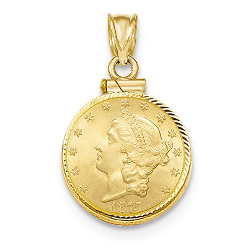 14kt Yellow Gold Diamond-cut Screw Top Bezel for Quarter Eagle US Coin