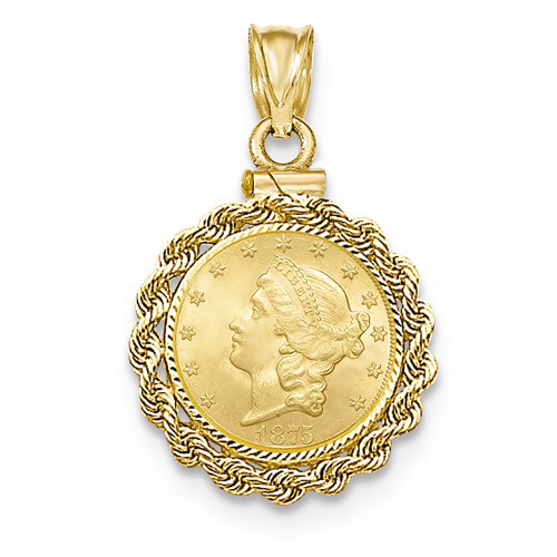 14kt Gold Diamond-cut Rope Screw Top Bezel for One Dollar US Coin