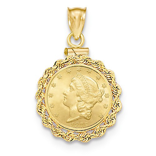 14kt Yellow Gold Rope Screw Top Bezel for One Dollar US Coin
