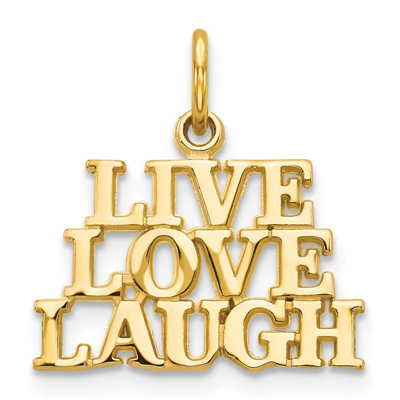 14kt Yellow Gold 1/2in Live Love Laugh Charm