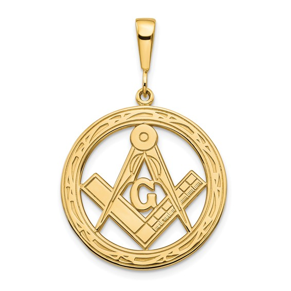 14kt Yellow Gold 1in Round Masonic G Compass and Square Charm