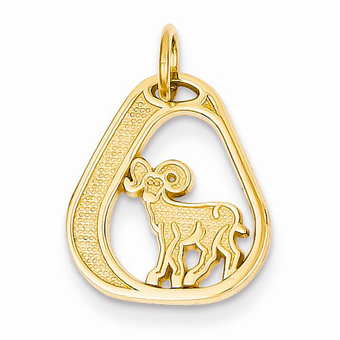 14kt Yellow Gold Aries Diamond-cut Charm
