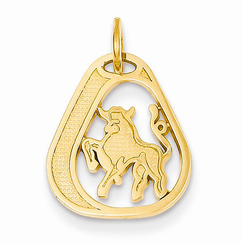 14kt Yellow Gold Taurus Diamond-cut Charm