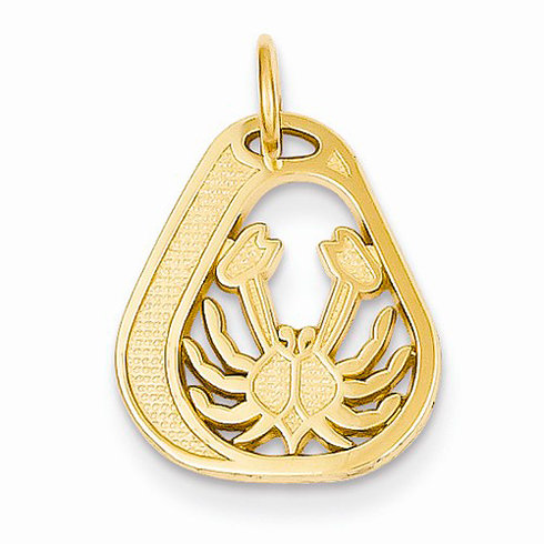 14kt Yellow Gold Cancer Diamond-cut Charm
