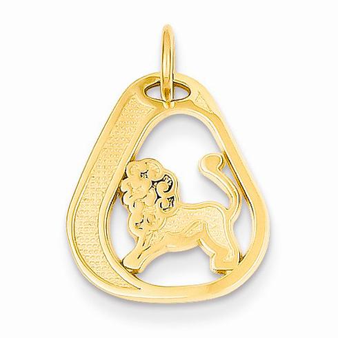 14kt Yellow Gold Leo Diamond-cut Charm
