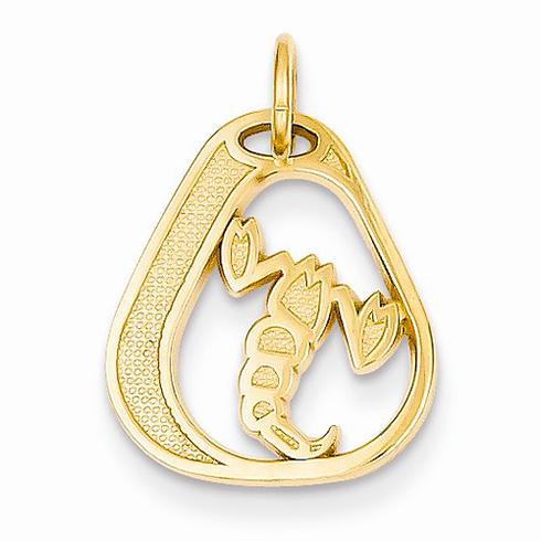 14kt Yellow Gold Scorpio Diamond-cut Charm