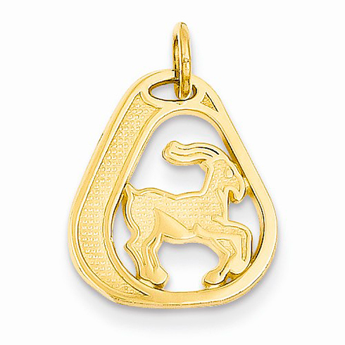 14kt Yellow Gold Capricorn Diamond-cut Charm