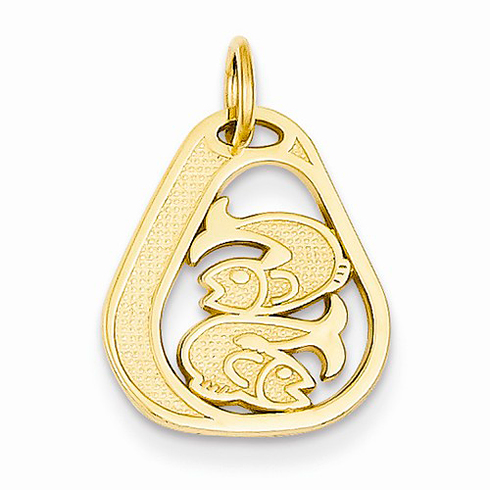 14kt Yellow Gold 5/8in Pisces Diamond-cut Charm