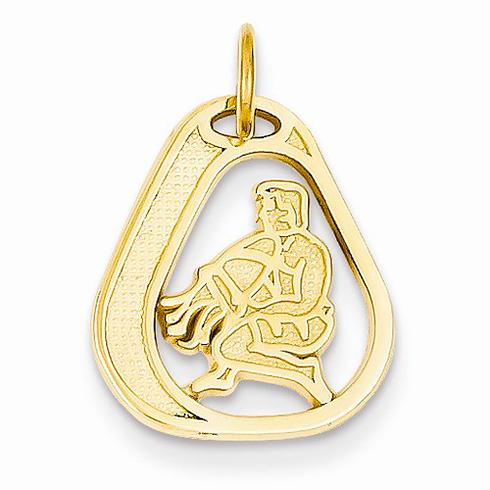 14kt Yellow Gold Aquarius Diamond-cut Charm