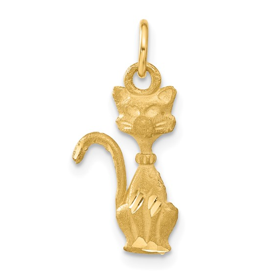14kt Yellow Gold 3/4in Tom Cat Pendant with Satin Finish