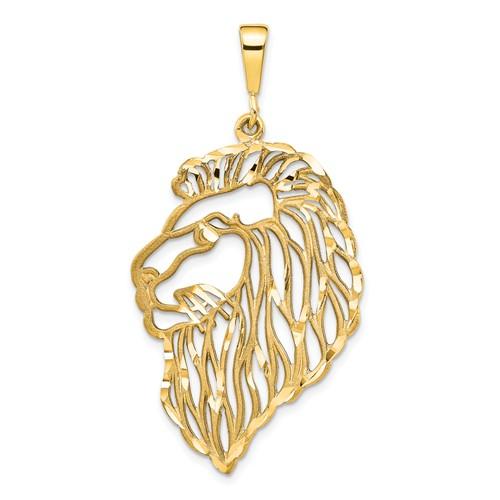 14k Yellow Gold Filigree Lion Pendant 1 1/2in